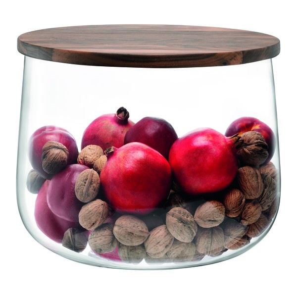 Glass bowl CITY and walnut lid by LSA